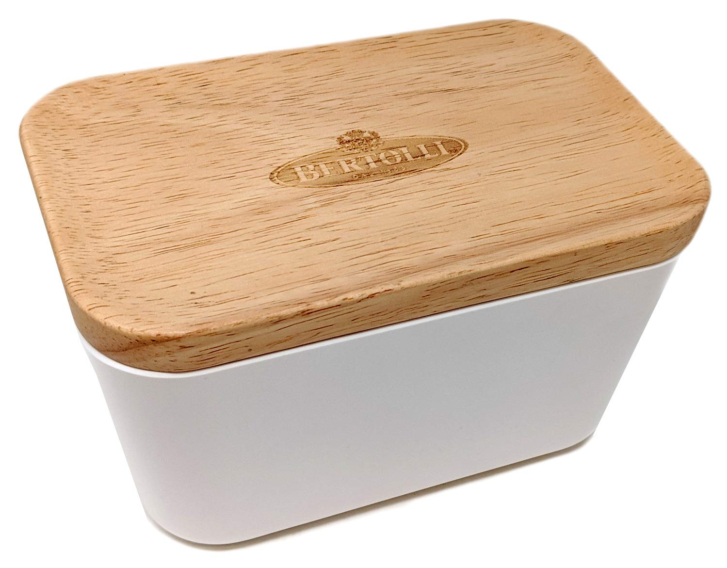 Bertolli White Melamine Butter Dish with Wood Lid, Limited Edition Bertolli Limited Edition