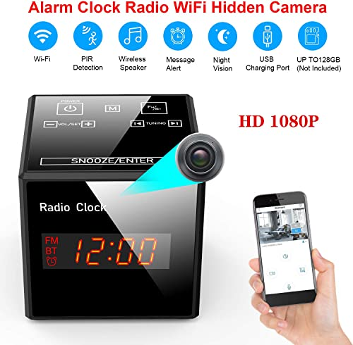 Hidden Cam Spy Camera – Alarm Clock FM Radio – 1080P Nanny Cams Wireless with Phone App – Bluetooth Speaker USB Charging Ports – Night Vision Motion Detection – Storage 128GB