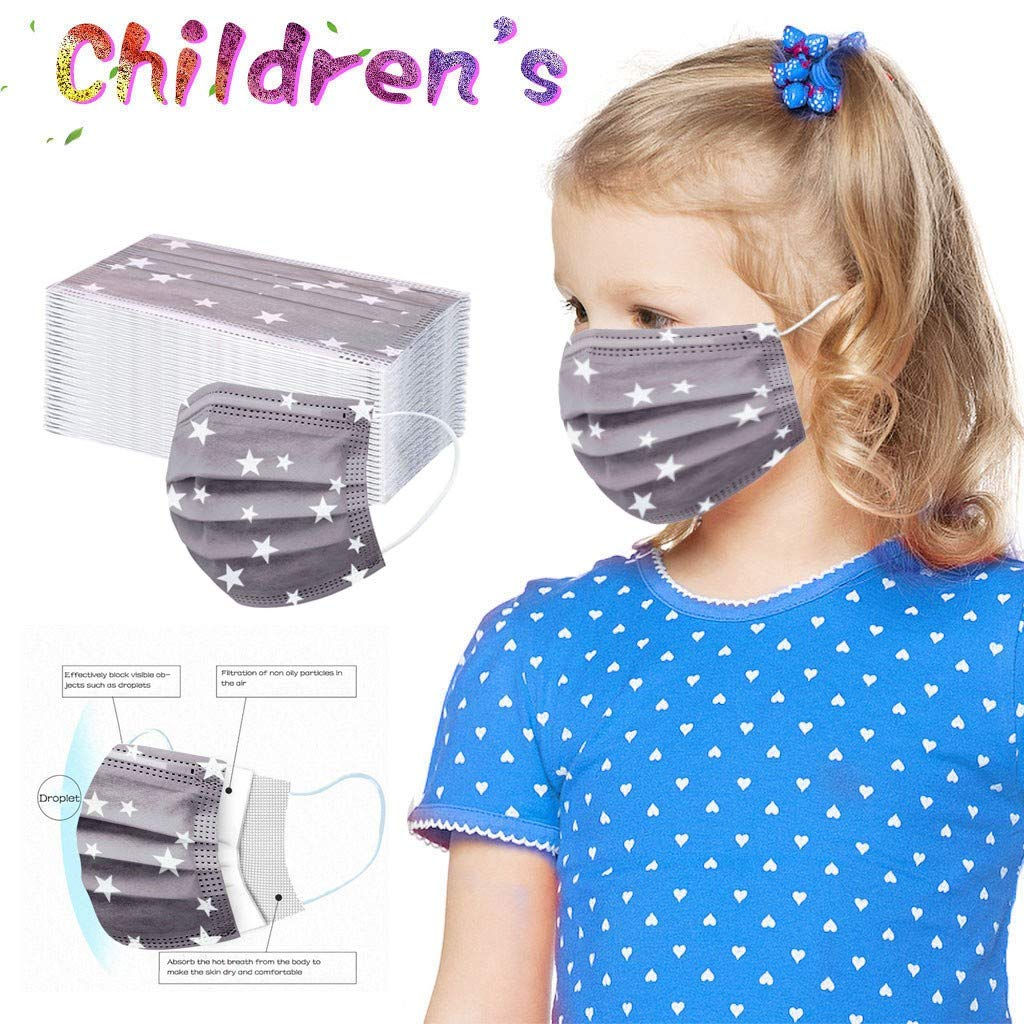 Kids Print Face Covering Cloth,Breathable Comfortable Face Bandanas for Children,Pattern 3 Layer Protections Neck Gaiter for Girl Boys MulticolorA 20PC