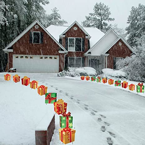 victorystore yard sign outdoor lawn decorations christmas presents pathway markers set of 18 flat - Christmas Lawn Decorations Amazon
