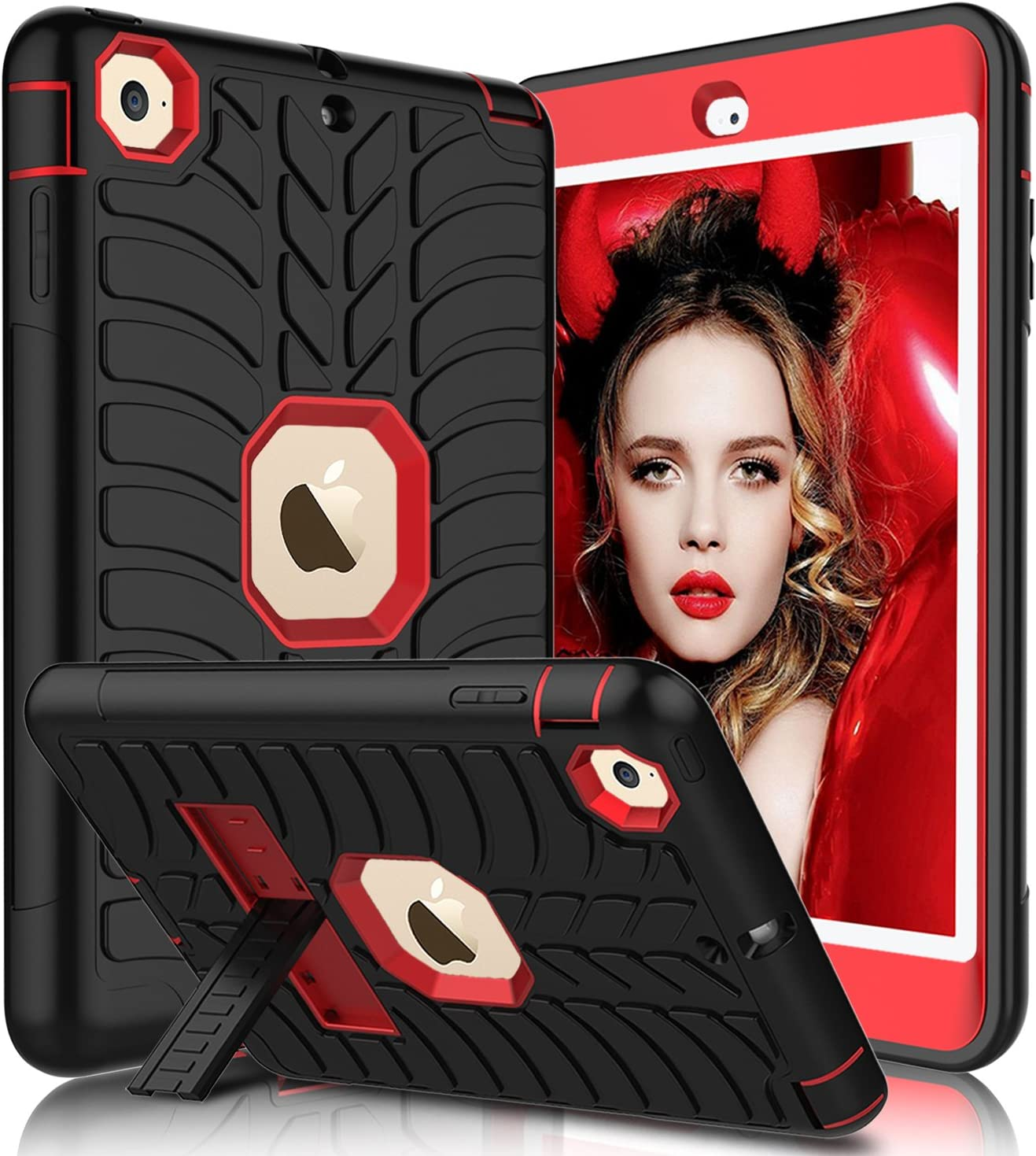 iPad Mini Case, iPad Mini 2 Case, iPad Mini 3 Case, iPad Mini Retina Case, Elegant Choise Heavy Duty Three Layer Armor Defender Protective Case with Kickstand for iPad Mini 1/2 / 3 (Red)