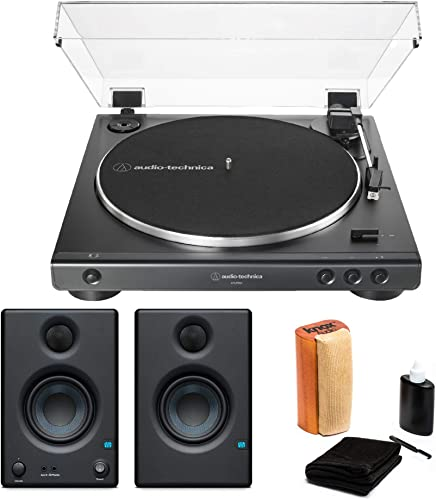 Audio-Technica AT-LP60X-BK Fully Automatic Belt-Drive Stereo Turntable with Eris 3.5 Monitors and Knox Vinyl Cleaning Kit