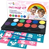 Maydear Face Painting Kit for Kids with 12 Colors Safe and Non-Toxic Water Based Face Paint palette, 40 Stencils and 2 Brushe