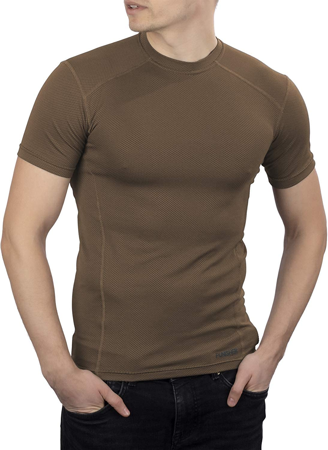 281Z Mens Military Moisture Wicking T-Shirt - Tactical Training Army Professional - Polartec Delta (Coyote Brown)