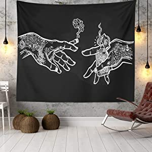 Wall Tapestry White and Black Floral Hands, Psychedelic Trippy Hippie Boho Novelty Tapestry Wall Hanging, Art Decor Print Fabric for Bedroom Living Room College Dorm,60×40 inch (150×100 cm)