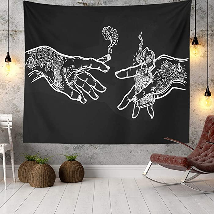 Wall Tapestry White and Black Floral Hands, Psychedelic Trippy Hippie Boho Novelty Tapestry Wall Hanging, Art Decor Print Fabric for Bedroom Living Room College Dorm,40×30 inch (100×75 cm)