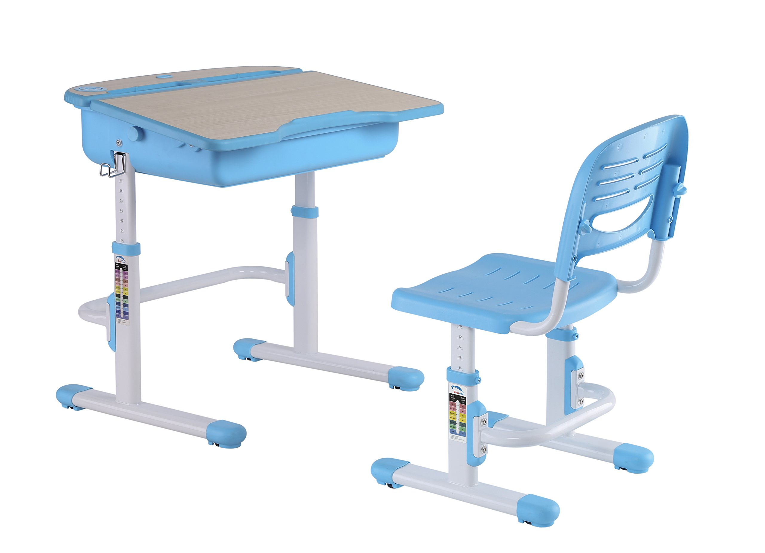 The House of Trade Adjustable Height Student School Desk 26.5 in. Wide x 21 in. Deep - For Kids Ages 5 to 14 - Rises from Sit to Stand Up (Blue)