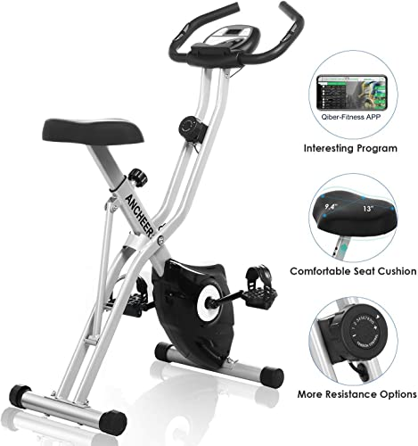 ANCHEER Folding Exercise Bike, Magnetic Upright Bike with App Program, Compact Workout Bike with 10-Level Resistance Tablet Stand Large and Comfortable Seat – Grey