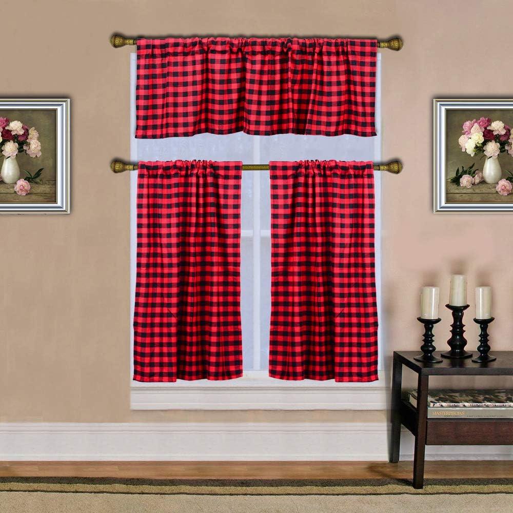 HTFD 3 Piece Buffalo Check Curtains Valance Kitchen Curtains Set: 100% Cotton, 1 Valance, 2 Tier Panels, 58Wx15L, 29Wx36L