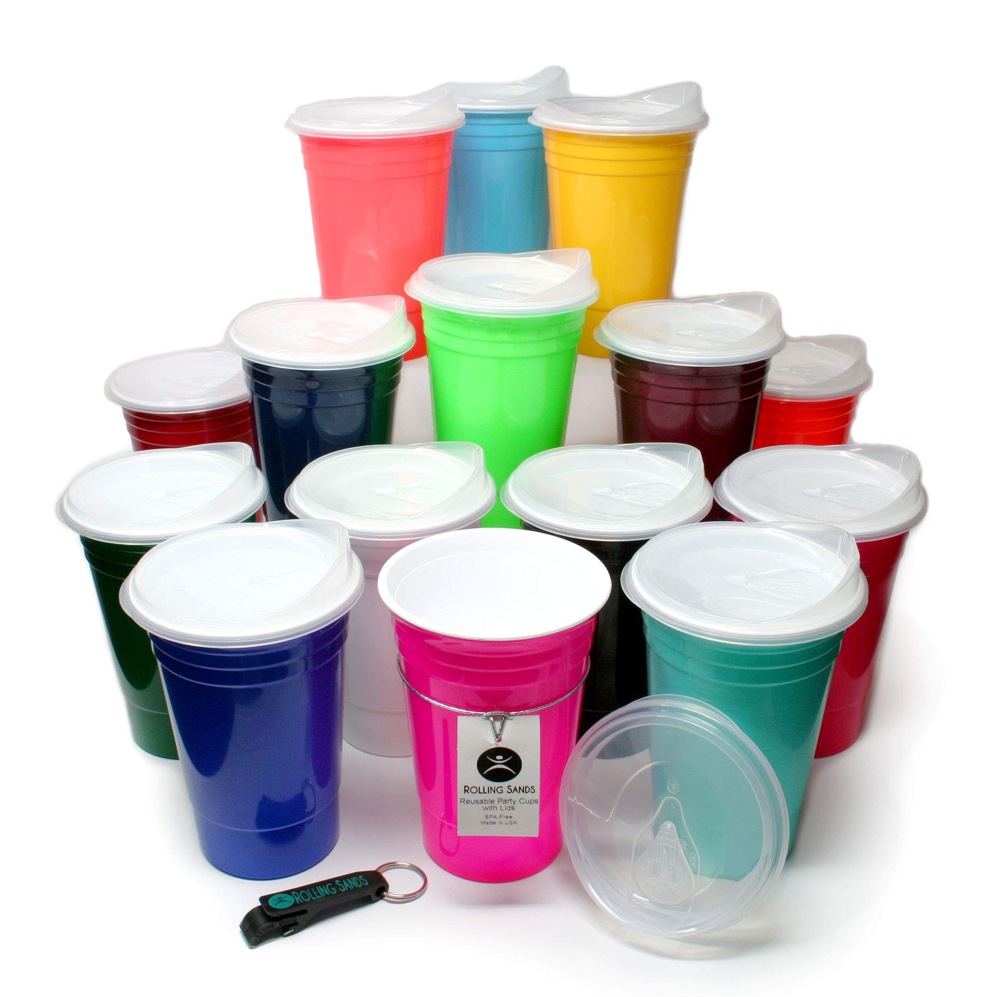 Rolling Sands Reusable BPA-Free 16 Ounce Party Cups with Lids - 15 Pack, Made in USA, Variety Party Pack