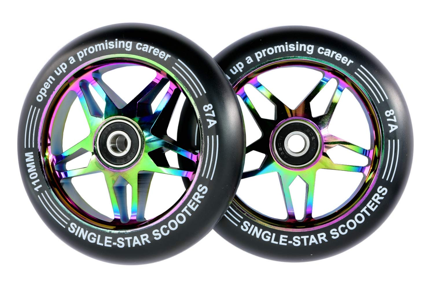 SINGLE-STAR Star Core Scooter Replacement Wheel 110mm Pro Stunt Scooter Wheels Packed 2PCS (Black/Neo)