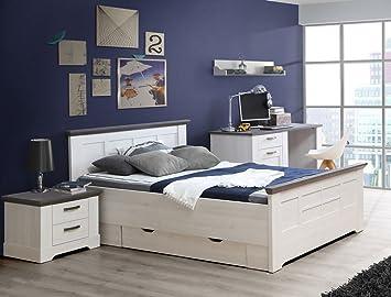 Jugendzimmer Gaston 63 Weiß Grau Schneeeiche 5 Teilig Schlafzimmer  Seniorenzimmer Landhaus Bett Schreibtisch Nachttisch Bettkasten