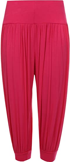 53c74e8b46d WearAll Womens Plus Size Cropped Harem Trousers - Cerise - US 8-10 (UK