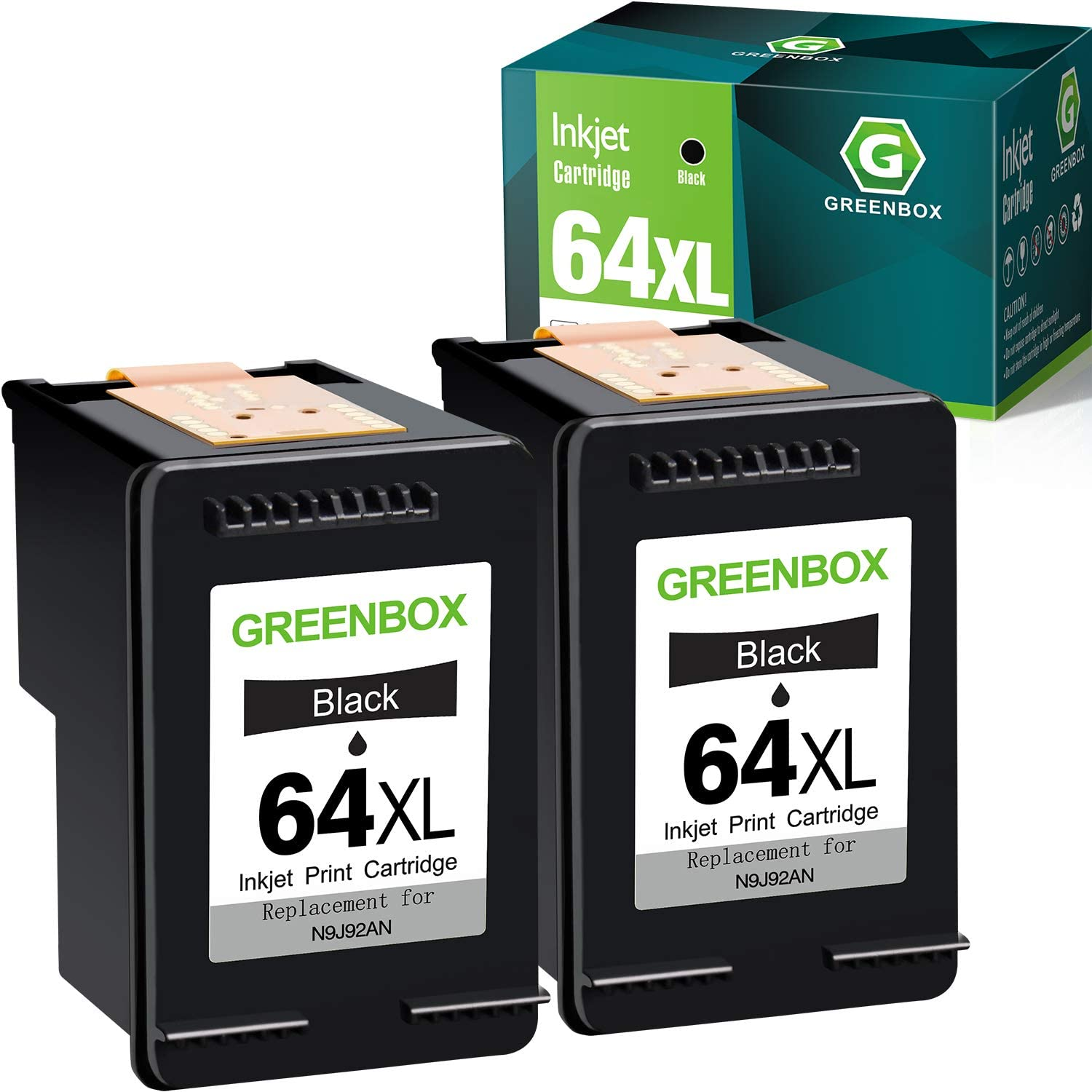 GREENBOX Remanufactured Ink Cartridge Replacement for HP 64 XL 64XL for HP Envy Photo 7855 7155 6255 6230 6252 6258 7120 6220 7130 7132 7158 7164 7820 7830 7858 7864 7800 Printer (2 Black)