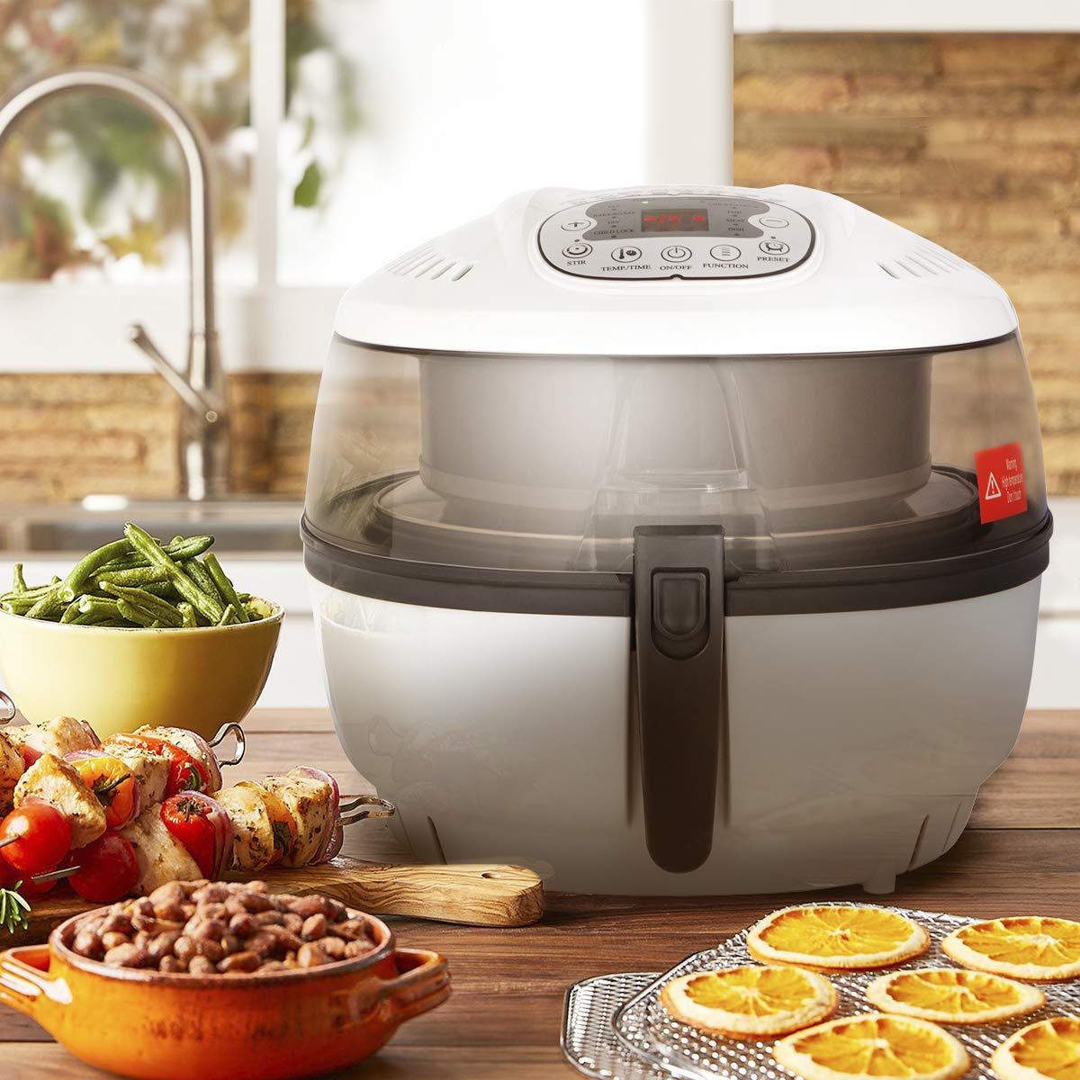 Ensue Premium Electric Air Fryer Oil-free Fry Cooker No Oil Digital Temperature Timer Control Stir Function, 1700 Watts, 6.3QT