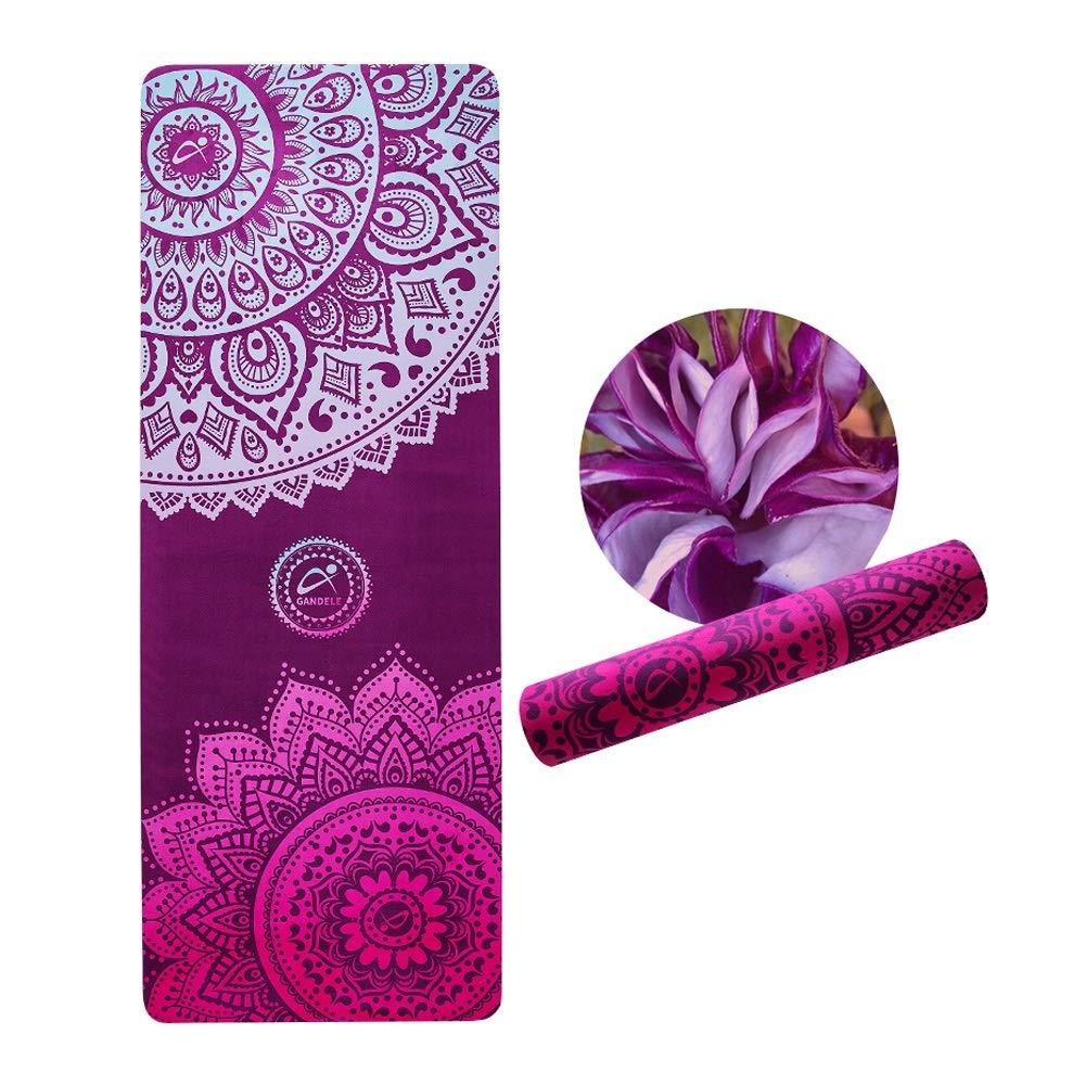 LS-Exercise Fitness Yoga Mat - Suede Printed Yoga Mat, Beginner Natural Rubber Non-Slip Fitness Multi-Function High Temperature Yoga Mat [183 66cm] 5mm & (Color : Purple)