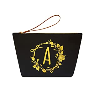 ElegantPark A Initial Monogram Personalized Travel Makeup Cosmetic Bag Wristlet Pouch Gifts Black with Zipper Canvas
