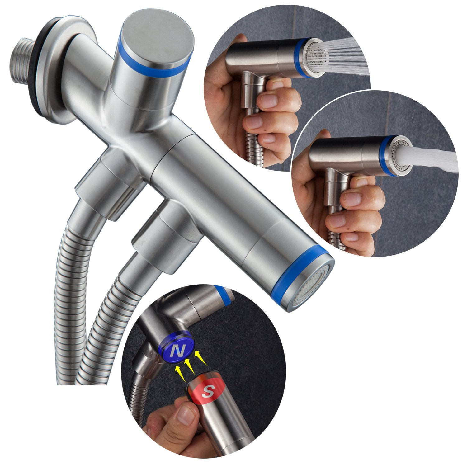 CIENCIA Magnetic Suction Hand Held Bidet Sprayer Stainless Steel Sprayer Shattaf - Complete Bidet Set for Toilet, Hand Bidet Sprayer for Toilet WS031F