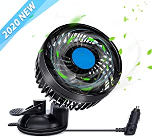 12 Volt Fan for Car Stepless Speed, Vehicle Truck Fan Cigarette Lighter with Suction Cup, Electric Fan 360 Degree Adjustable Low Noise for Van SUV RV Auto Vehicles Golf