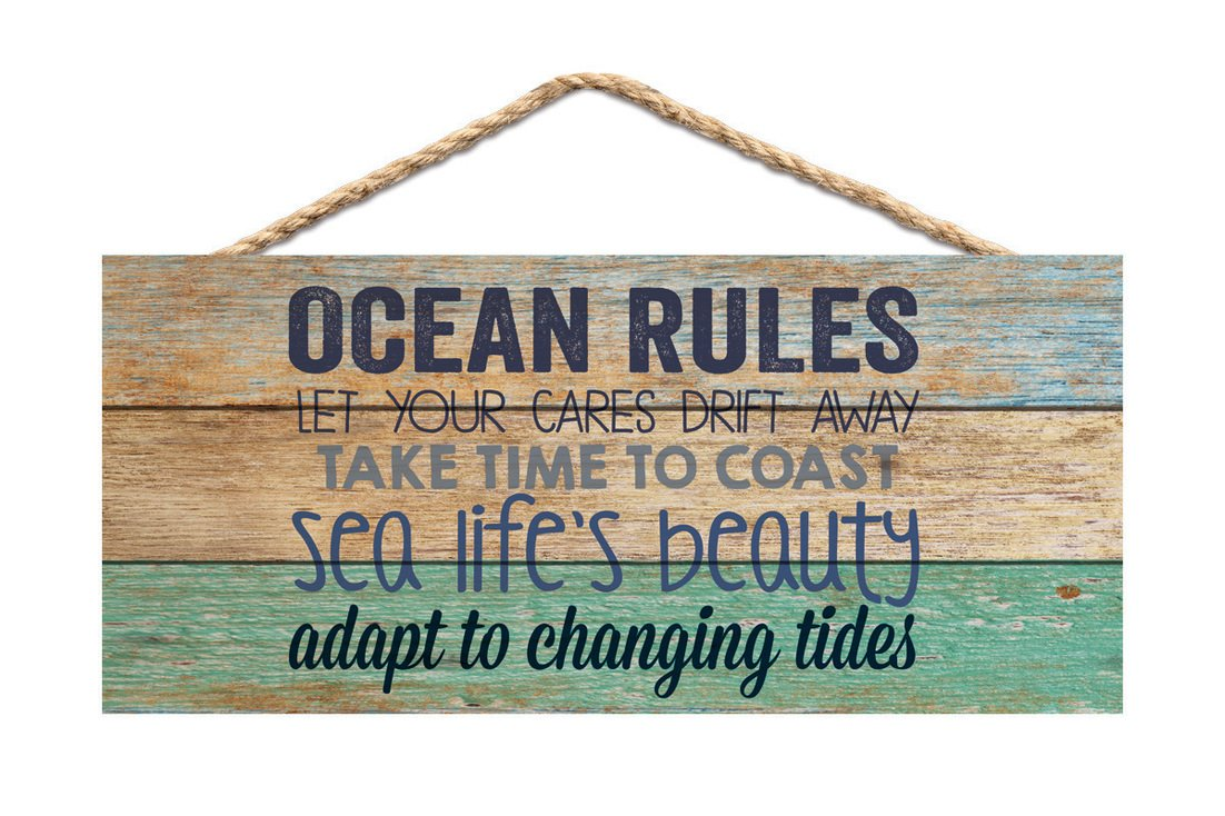 Ocean Rules Sea Life's Beauty Aqua Lath Look 10 x 4.5 Wood Wall Hanging Plaque Sign