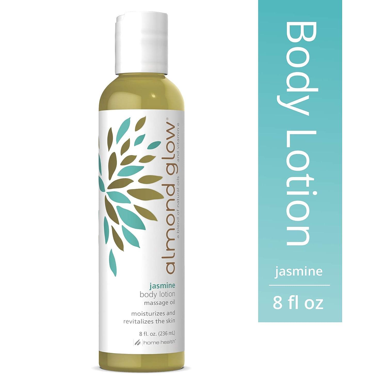 Home Health Almond Glow Jasmine Body Lotion - 8 fl oz - Skin Moisturizer & Massage Oil, With Peanut, Olive & Lanolin Oils Plus Vitamin E - Non-GMO, Paraben-Free, Vegetarian