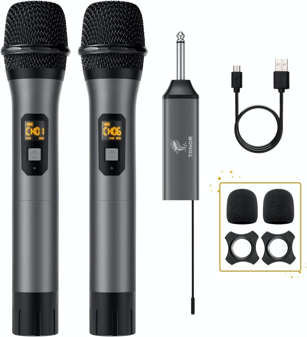 Micrófono Inalámbrico, TONOR UHF Sistema de Micrófono Dinámico de Metal Dual con Receptor Recargable, para Canto de Karaoke, KTV Casero, Reunión, Boda, DJ, Fiesta, Discurso, Iglesia, 60m (TW-630)