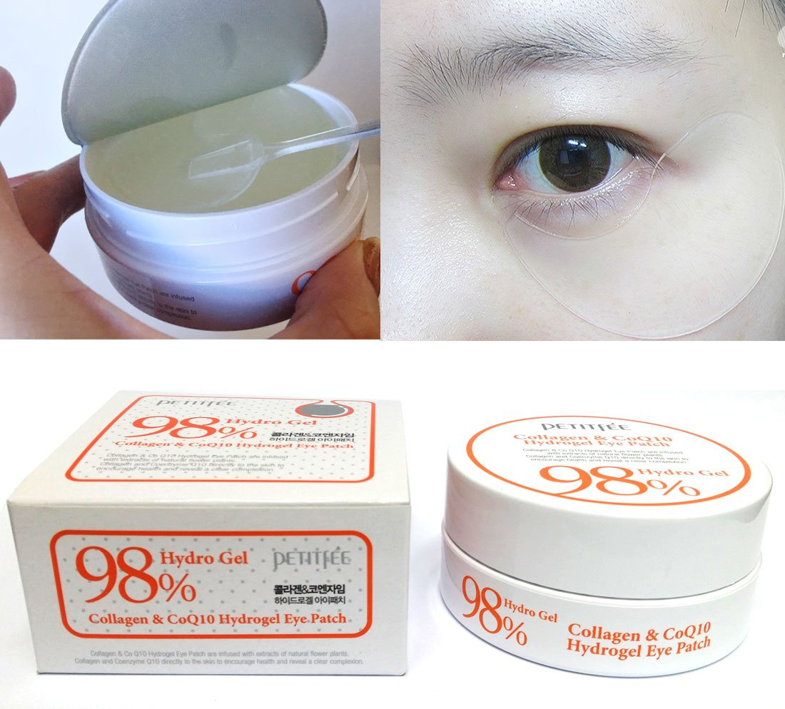 [PETITFEE] Collagen & Co Q10 Hydrogel Eye Patch 60 pcs(30 pairs) / wrinkles, moisture / Korean Cosmetics