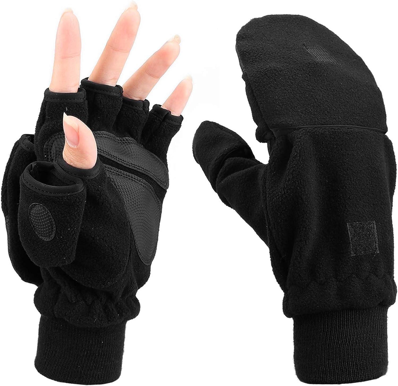 Handschuhe Finger Strick Halbfinger Überschlag Damen Herren Herbst Winter