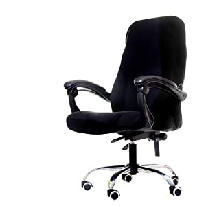 Deisy Dee Computer Office Chair Covers for Stretch Rotating Mid Back Chair Slipcovers Cover ONLY Chair Covers C162 (Black)