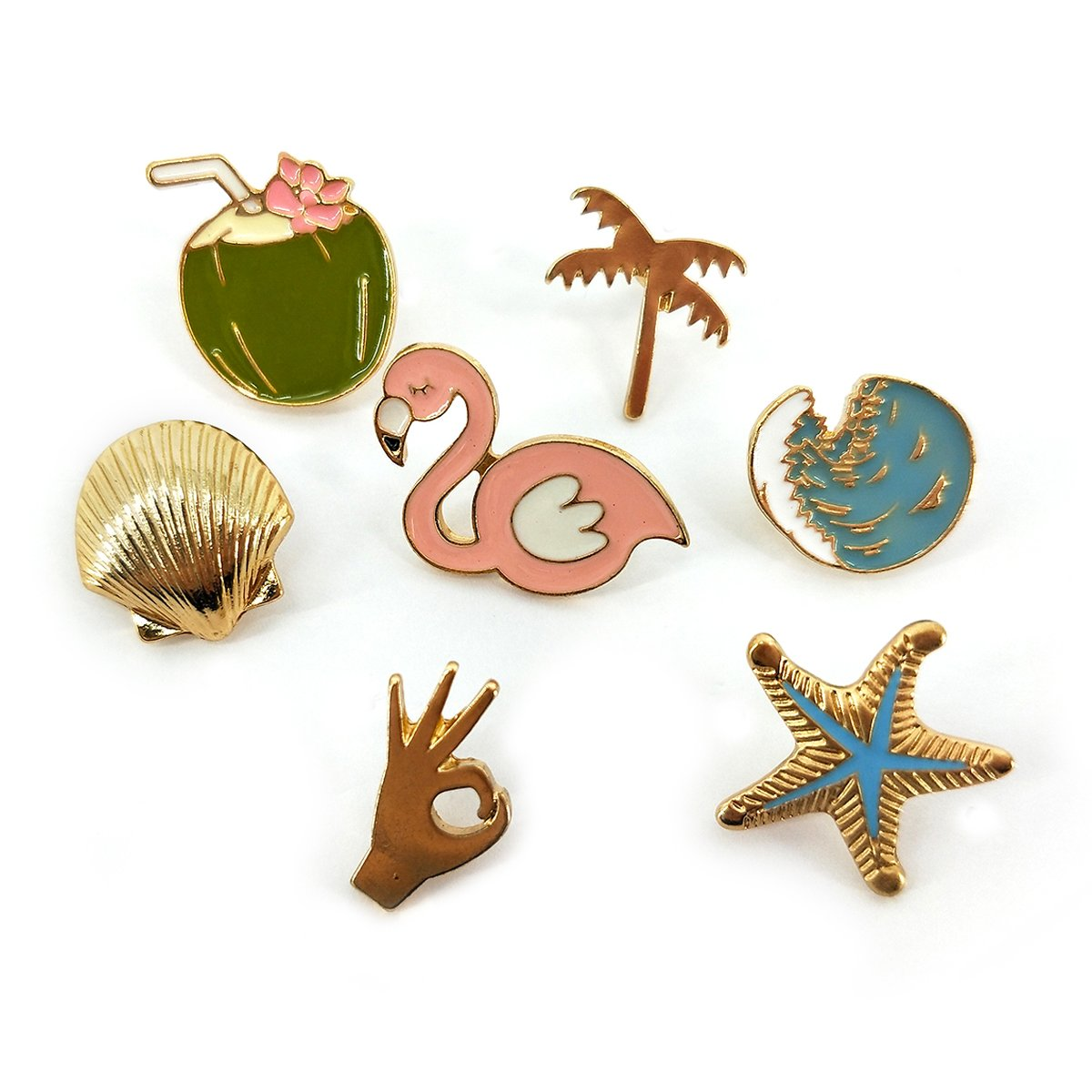 Gold Plated Brooch Pin for Women Enamel Cute Mini Badges Cat Pineapple Lapel Pins for Clothing Decor (Set 12)