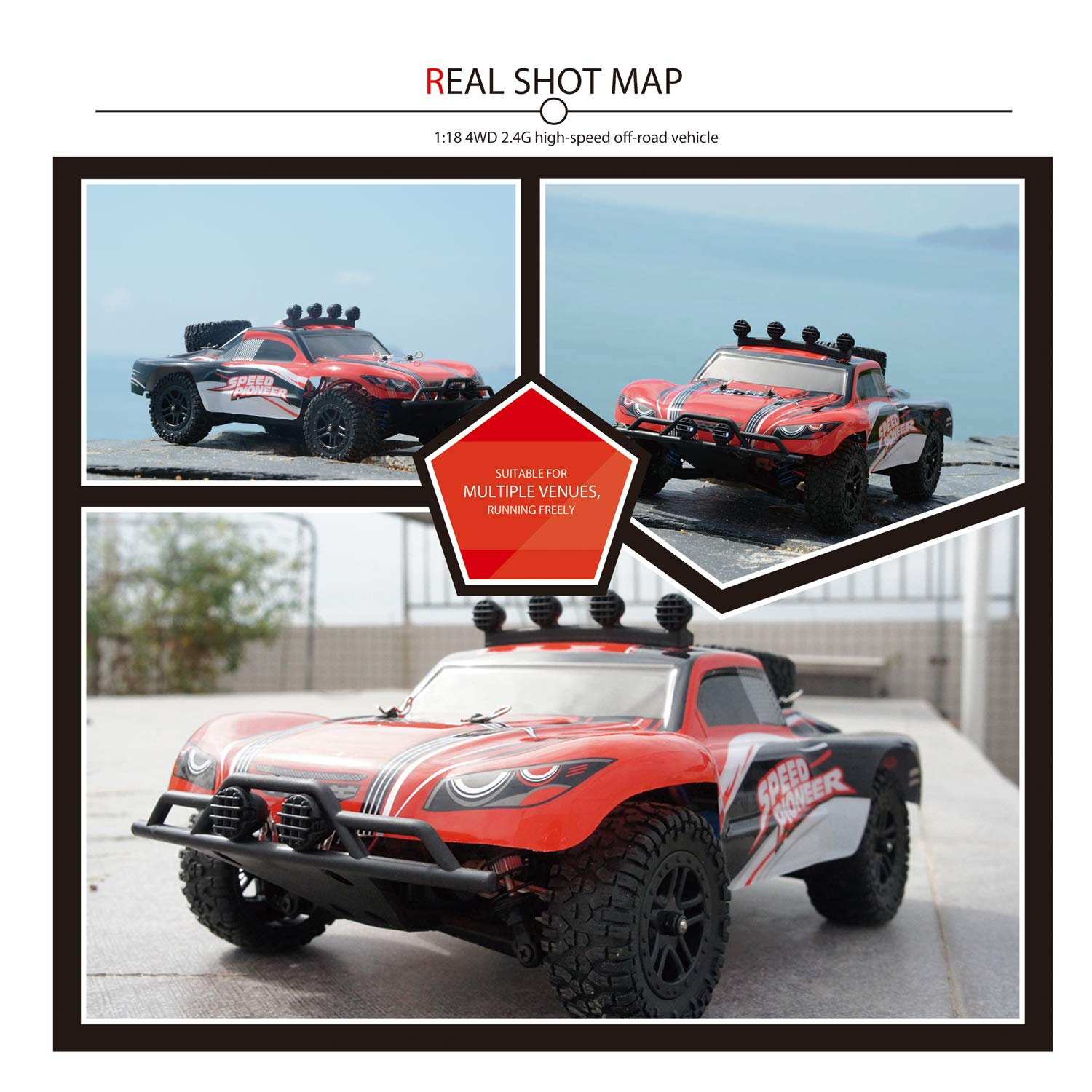 EXERCISE N PLAY RC Car, Remote Control Car, Terrain RC Cars, Electric Remote Control Off Road Monster Truck, 1:18 Scale 2.4Ghz Radio 4WD Fast 30+ MPH RC Car, with LED Ligh, 2 Rechargeable Batteries by EXERCISE N PLAY (Image #5)