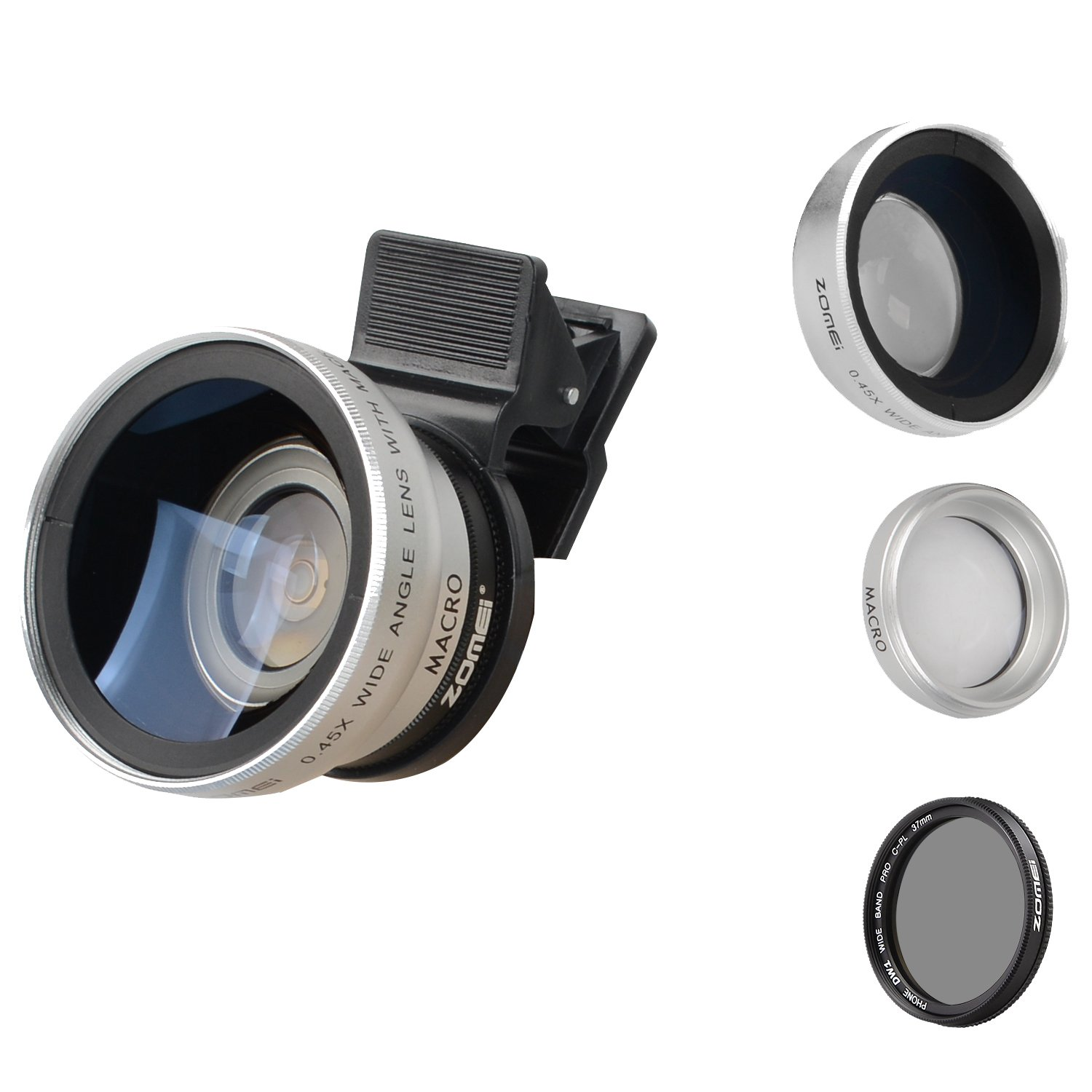 ZoMei iPhone Lens 3 in 1 Cell Phone Camera Lens Kit 140 Degree Wide Angle Lens + 10X Macro Lens + CPL Polarizing Filter 37mm Clip iPhone Samsung Android Smartphones(Silver)