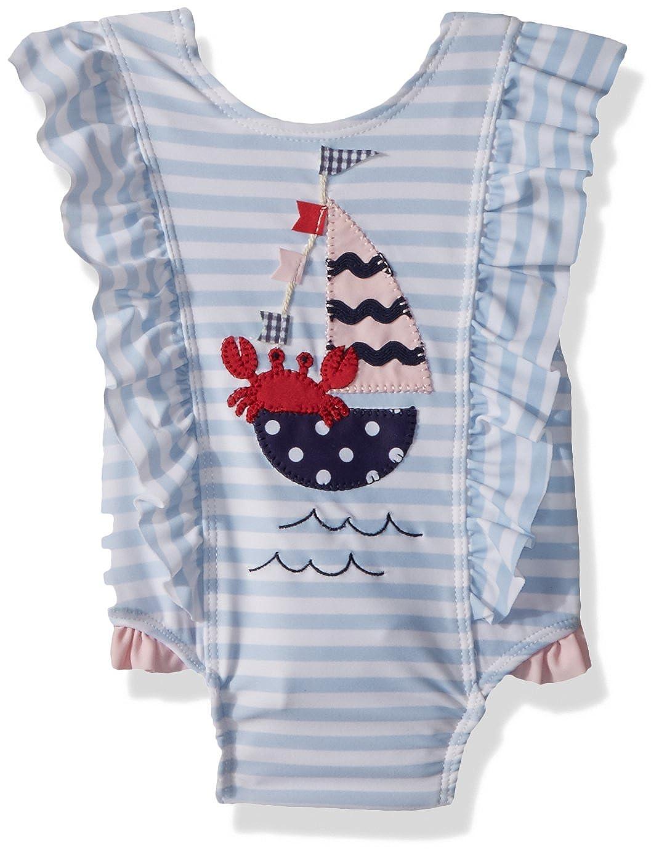 Mud Pie Baby Girls Sailboat Ruffle Striped One Piece Swimsuit