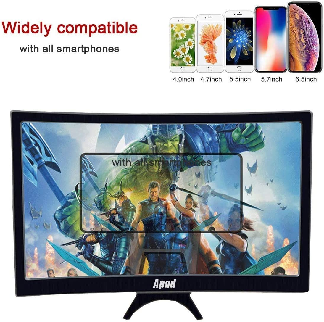and Gaming with Foldable Stand Compatible with All Smartphones Videos Suscci 12 inch 3D Curve Screen Magnifier for Cell Phone,HD Amplifier Projector Magnifing Screen Enlarger for Movies Black