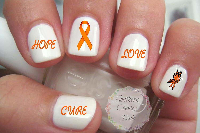 Amazon.com : Awareness Orange Ribbon Nail Art Decals Ms or Leukemia ...