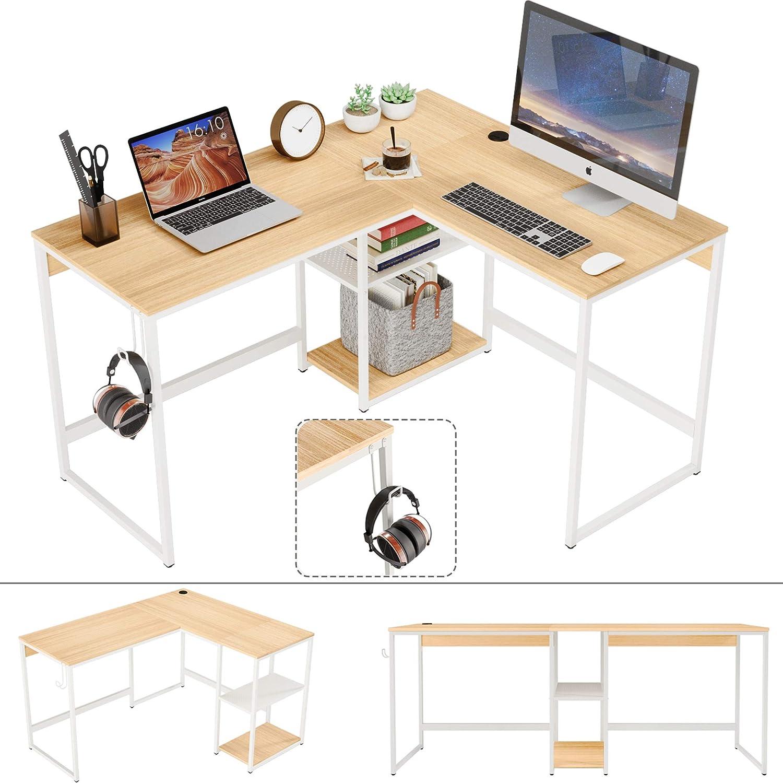 Domy Home Convertible L-Shaped Desk w/Storage Shelf