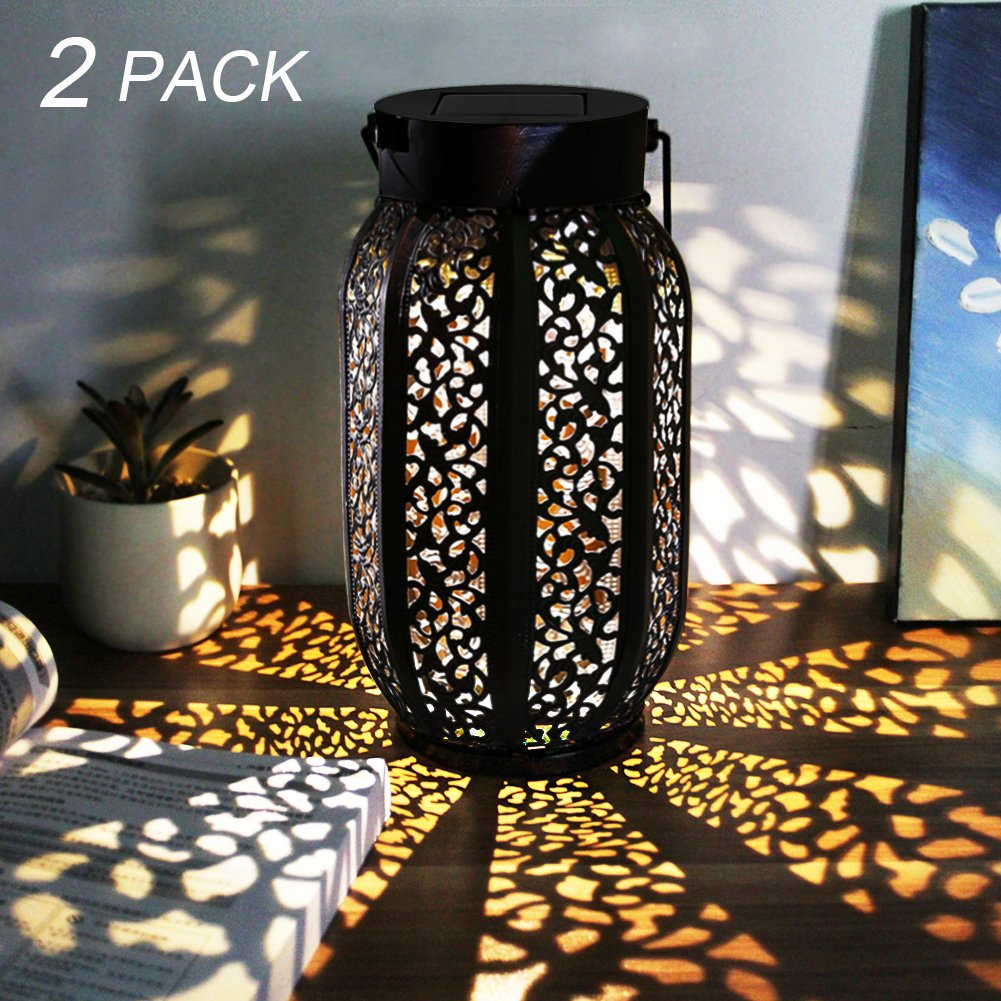 MAGGIFT 12 Lumens Hanging Solar Lights Outdoor Retro Hanging Solar Lantern with Handle, Brown, 2 Pack