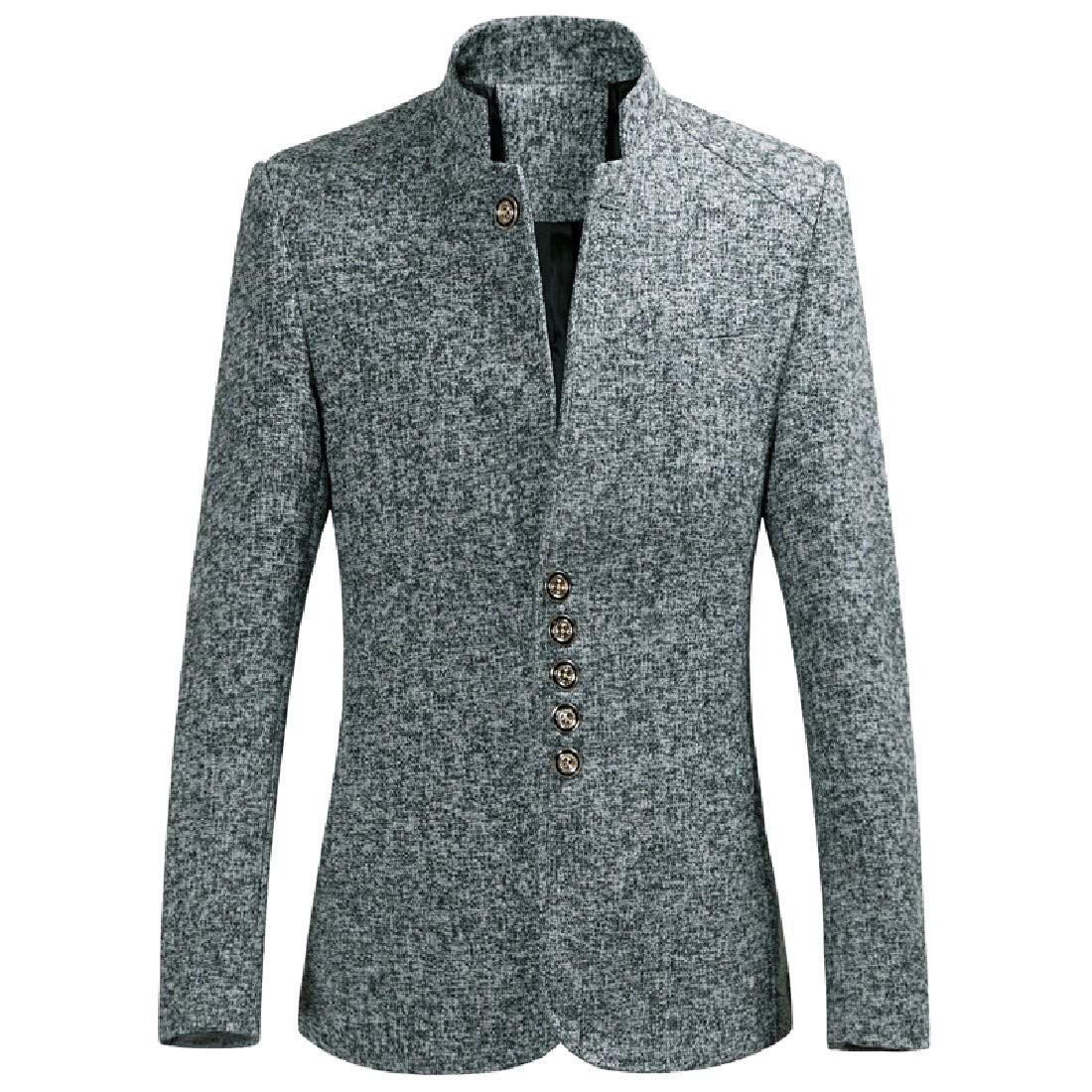 a668f280b88 Grey Zimase Men MidLong Stand Collar Oversize Button Button Button Blazer  Jacket Suits 774e04