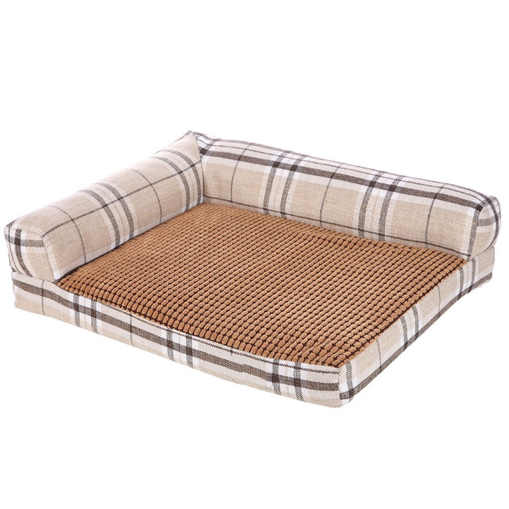 Beige GHMM Pet bed canvas fabric kennel soft and comfortable waterproof non-slip durable B2 Pet bed (color   Beige)