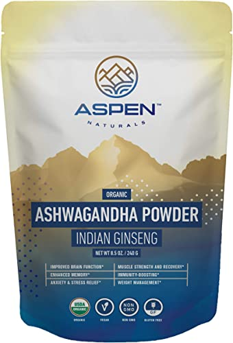 Aspen Naturals Organic Ashwagandha Powder – Ultimate Stress Relief Support – 100 Organic Ashwagandha Root Powder, from India, Premium Immune, Adrenal, and Sleep Support