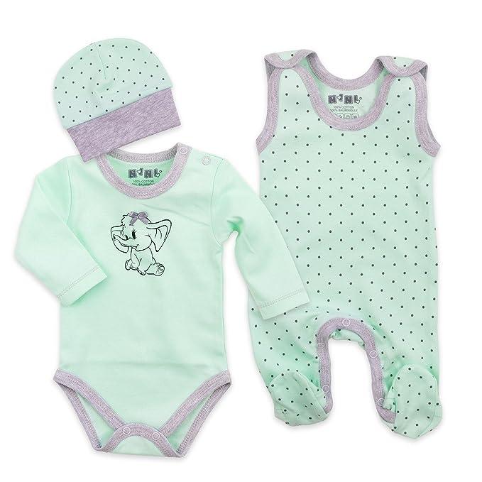 Juego de 3 piezas niña con pijama, Body y gorro, color verde menta Talla:1 Monate (56): Amazon.es: Bebé
