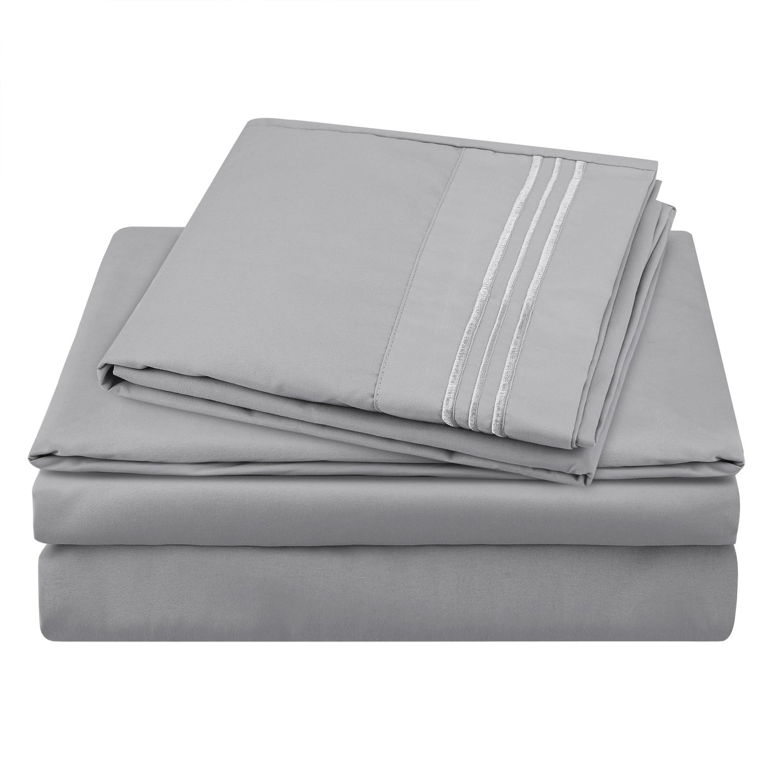 HOMEIDEAS 105 GSM Hotel Luxury 3 Piece Bed Sheets Set (Twin XL,Light Gray) Hypoallergenic Microfiber 1800 Series Bedding Sheets - Deep Pockets,Wrinkle & Fade Resistant