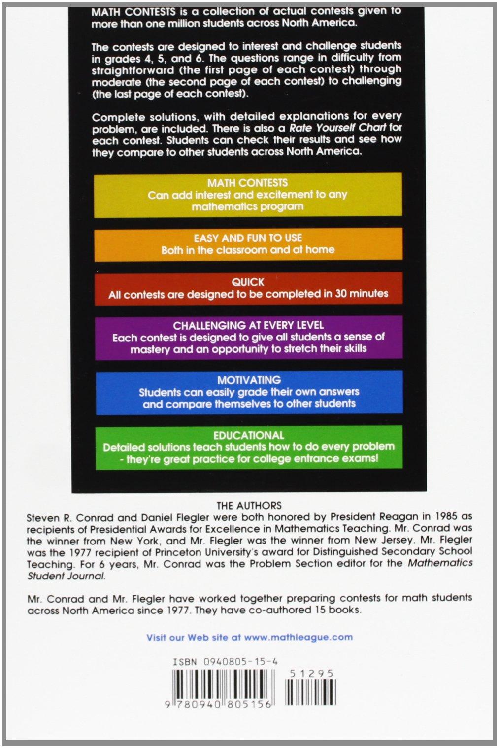 Amazon math contests grades 4 5 6 vol 5 9780940805156 amazon math contests grades 4 5 6 vol 5 9780940805156 steven r conrad daniel flegler books fandeluxe Image collections