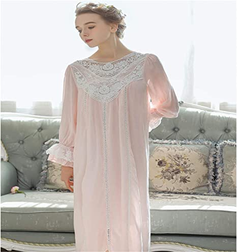 Ladies Nightwear Nightdress Calf Length V Neck With Floral Embroidery