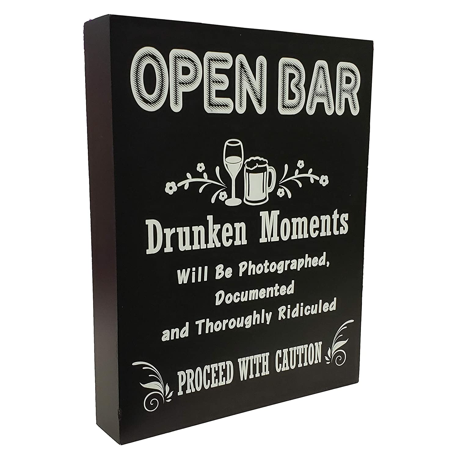 JennyGems - Open Bar - Drunken Moments Will Be Photographed Documented and Thoroughly Ridiculed Proceed with Caution - Wedding Ceremony and Reception Stand Up Sign - Birthday Anniversary Party,