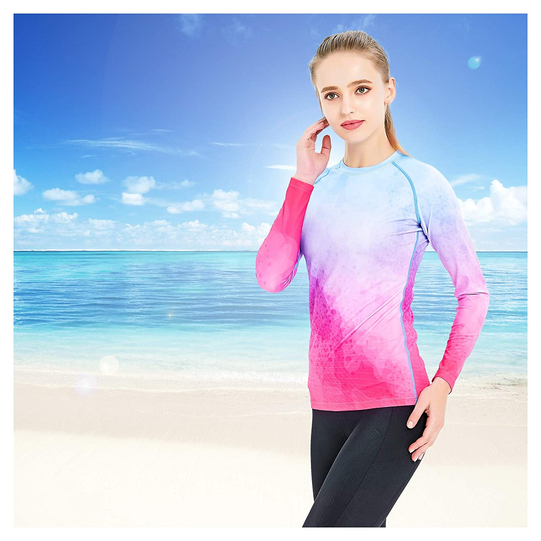 Catena Womens Long Sleeve Swimsuit UV Sun Protection Rash Guard Top Swimwear Swim Shirt