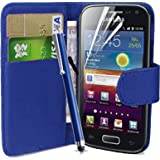 fi9® SAMSUNG GALAXY FAME GT-S6810 S6810P BOOK WALLET FLIP PU LEATHER CASE COVER POUCH + SCREEN PROTECTOR + STYLUS PEN (BLUE)