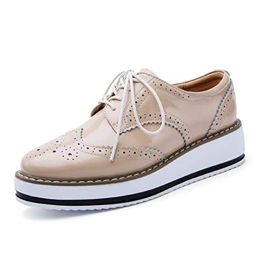 Women Platform Shoes Woman Brogue Patent Leather Flats Lace-Up Flat Oxford Shoes