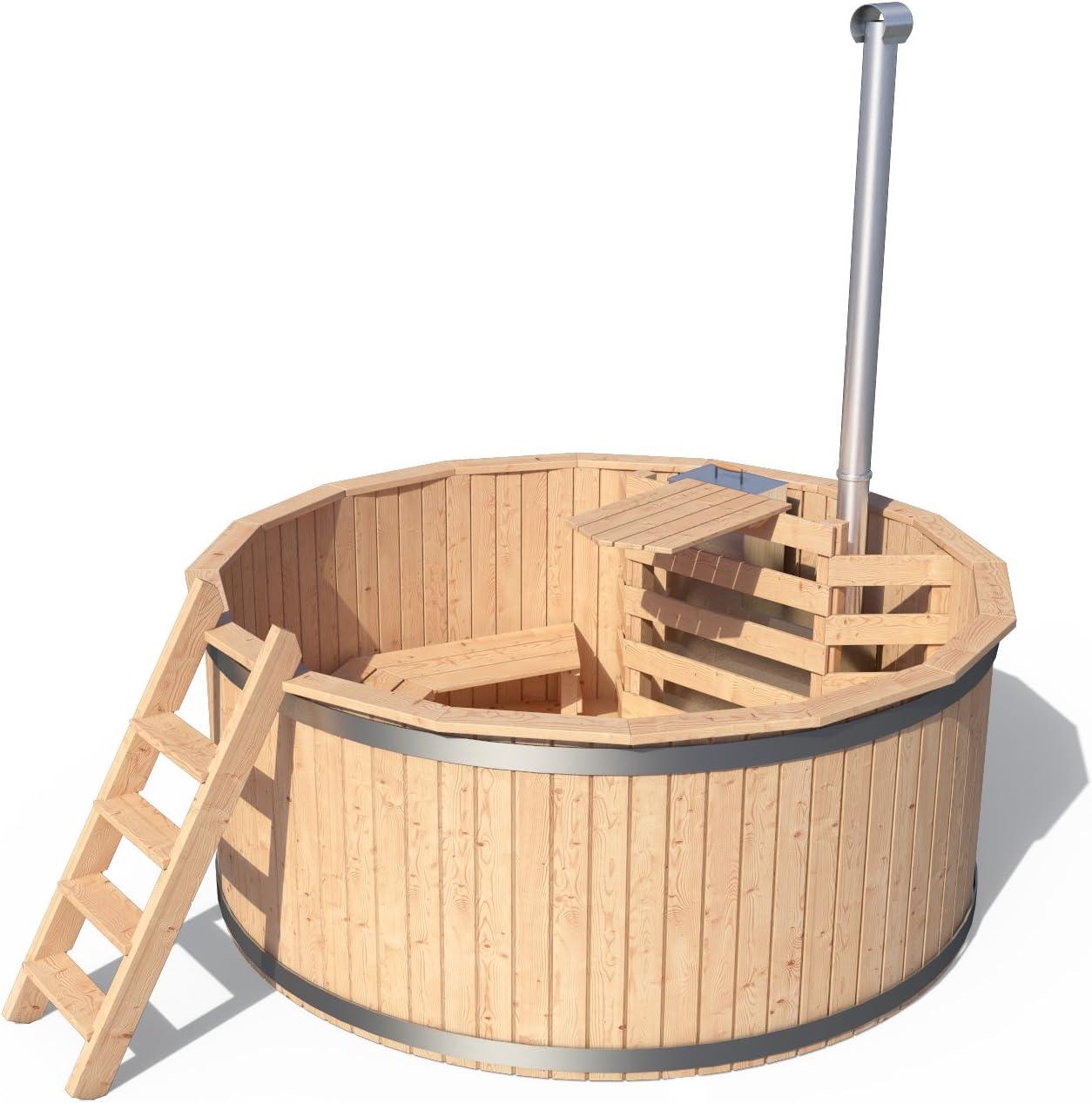 Isidor Holzbau - Piscina de madera para exterior, juego completo con tapa y accesorios opcionales