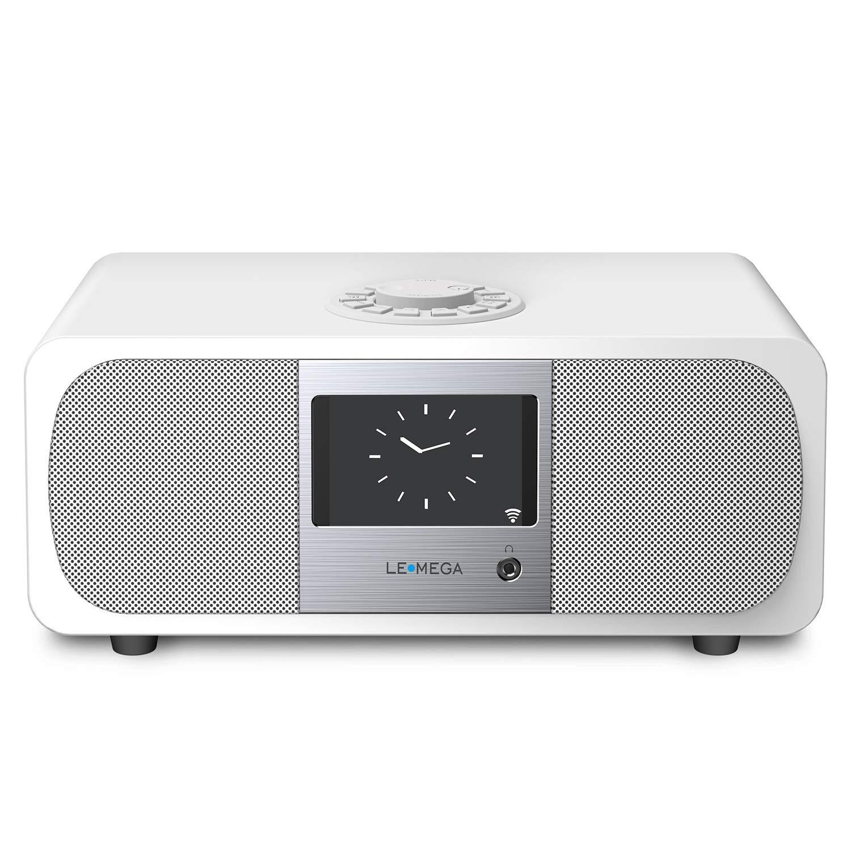 LEMEGA M3+ Smart Music System (2.1 Stereo) with Wi-Fi, Internet Radio, Spotify, Bluetooth, DLNA, FM Radio, Clock, Alarms, Presets, and Wireless App Control. (Satin White)